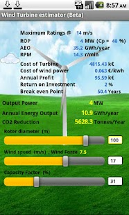 Wind Turbine Estimator beta- screenshot thumbnail