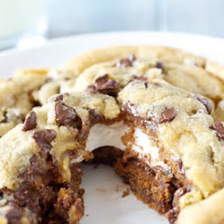 Giant S'mores Stuffed Chocolate Chip Cookies.