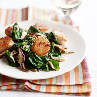 Pan-Seared Scallops with Spinach-Mushroom Saute.