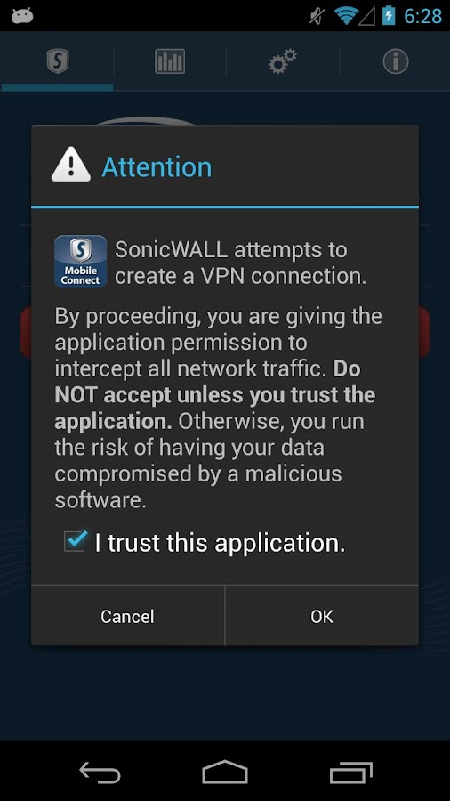 SonicWALL Mobile Connect - screenshot