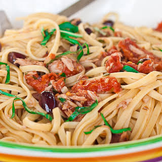 Linguine Puttanesca with Tuna.
