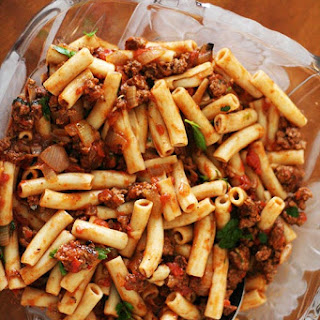Penne Pasta with Meat Sauce.