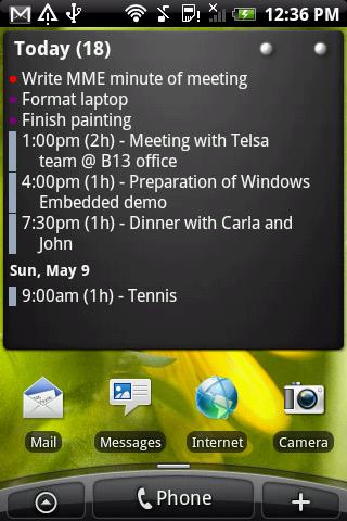 Widget to show calendar events and TODO items merged in a