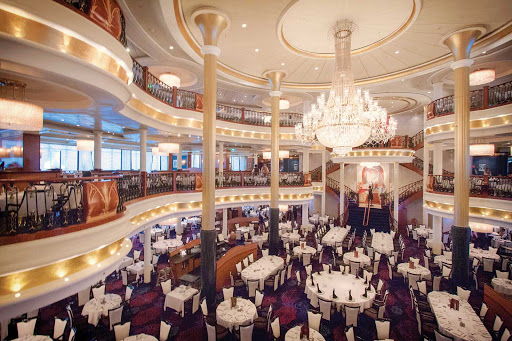 Navigator-of-the-Seas-dining-room - Navigator of the Seas' three-level main dining room offers a wide variety of menu items for breakfast, lunch and dinner.