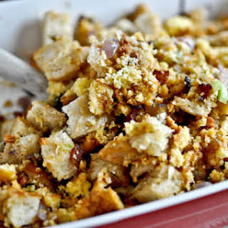 Double Bread Stuffing with Brown Butter, Bacon & Sage.