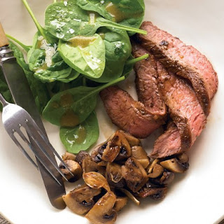 Seared Steak with Roasted Mushrooms and Spinach Salad