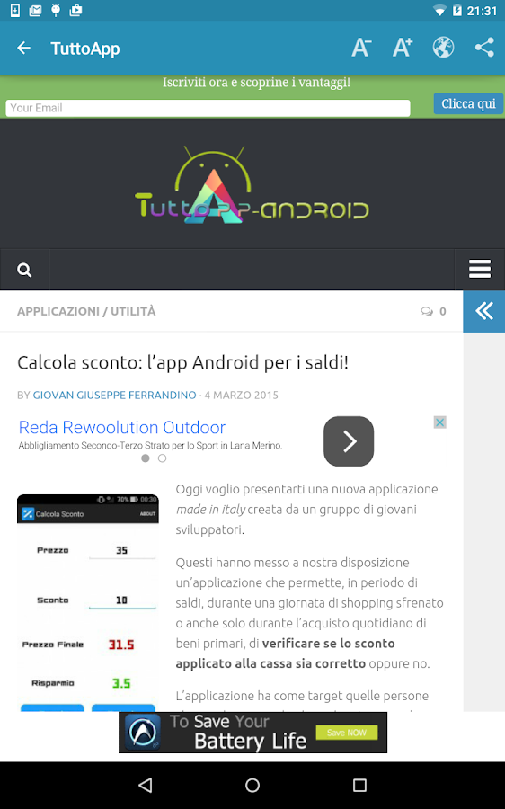 Notizie su Android - screenshot