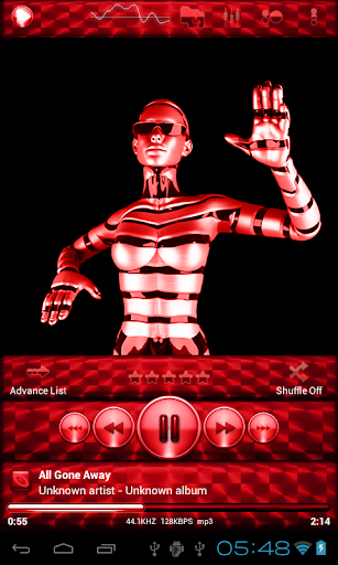 Poweramp Skin RED BRUSHED
