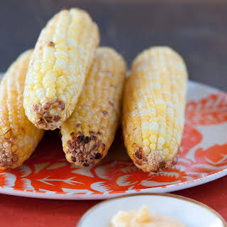 Grilled Corn With Smokey Peach Butter.