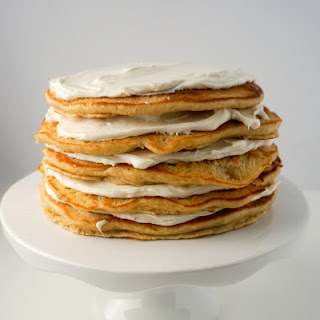 Pancake Cake with Maple Cream Frosting.