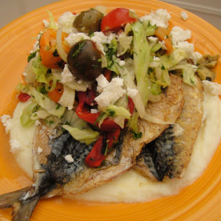 Grilled Sardines with Chopped Salad and Skordalia Soup
