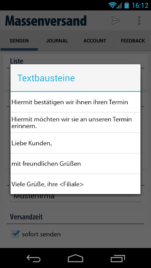 massen SMS Versand Gateway App- screenshot