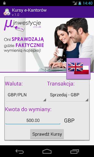 Kursy walut e-kantorów