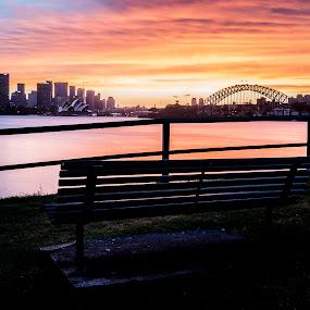 Fiery silhouette by Mitchell Oates - Landscapes Sunsets & Sunrises ( water, skyline, silhouette, sunset, harbour, australia, cityscape, landscape, opera house, sydney, city )