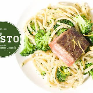 Parsley Pesto Pasta with Broccoli and Salmon.