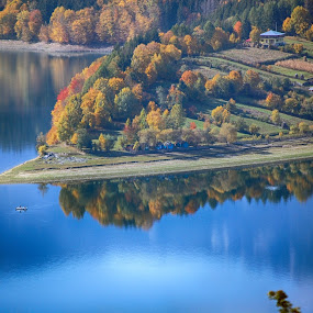 by Bogdan Blaga - Landscapes Waterscapes ( reflection, mountain, blue, autumn, lake )