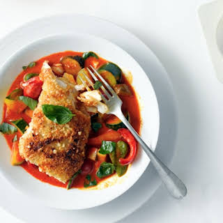 Almond-Crusted Halibut with Vegetable Curry.