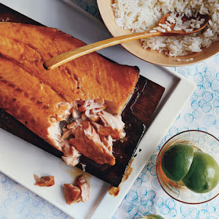 Planked Salmon with Coconut Rice.