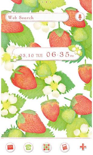 かわいい壁紙・アイコン-Strawberry&Flower-