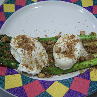 Tender Asparagus with Soft Poached Eggs, Mexican Tarragon and Italian Bread Crumbs.