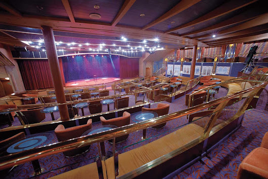 Every seat in Silver Cloud's Show Lounge has a clear view of the stage and movie screens.