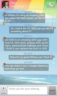 GO SMS Pro Summer Theme - screenshot thumbnail