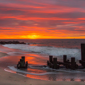 Breaking surf and sun by Deborah Felmey - Landscapes Beaches ( jersey shore, waterscape, colors, waves, sunrise, beach, landscape,  )