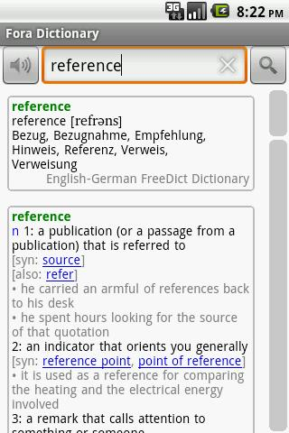 Fora Dictionary- screenshot