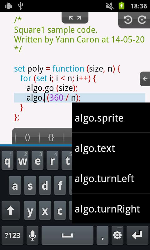 Algoid - Programming language - screenshot