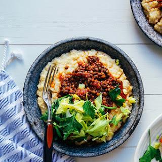 """vegan BBQ lentils with millet """"polenta""""."""