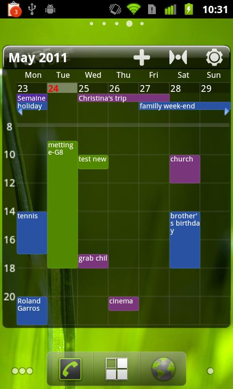 Pure Grid calendar widget - screenshot