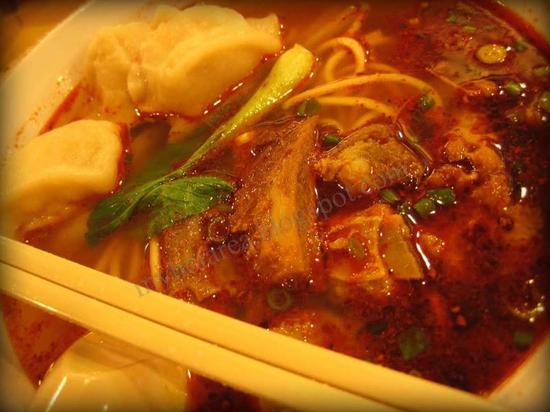 麻 辣水饺排骨拉面 Hot Spicy Dumpling Pork Ribs Noodles