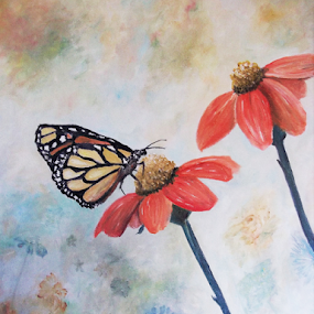 Monarch upon a Gerbera Daisy by Rhonda Lee - Painting All Painting ( famous, butterfly, unique, monarch, art, beautiful, insect, pretty, oil, amazing, modern, macro, awesome, contemporary, rokinronda, artist, painting, top, animal,  )