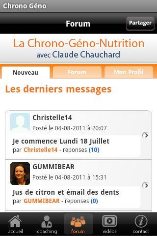 La Chrono Géno Nutrition - screenshot