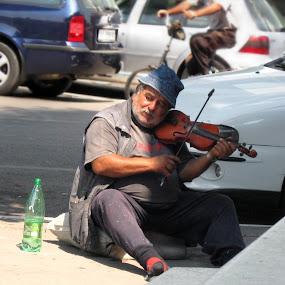starac i violina by Deki Jiggy - People Musicians & Entertainers ( zivot, violina, street, umetnik, gipsy, ulica, muzicar )