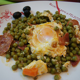 Poached Eggs with Peas.