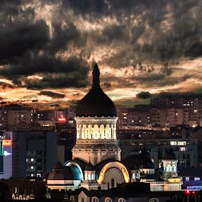 Drama Queen by Dragos Birtoiu - Buildings & Architecture Public & Historical ( clouds, sky, church, drama, city,  )