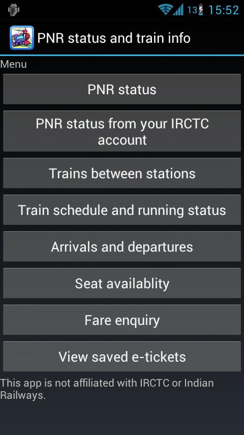 PNR status and train info - screenshot