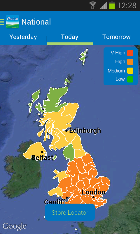Clarityn's UK pollen forecast - screenshot