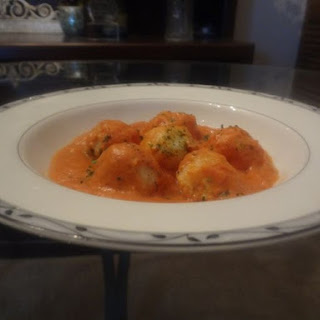 Potato Gnocchi with Tomato Cream Cheese Sauce.