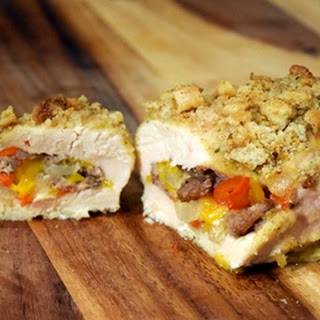 Sausage, Pepper and Onion Stuffed Chicken