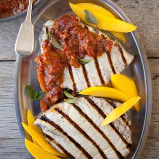 Mango BBQ'd-Grilled Swordfish