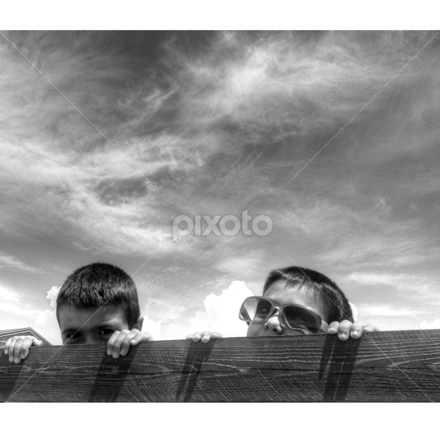 TWO BROTHERS PLAYING by Gianluca Presto - Babies & Children Child Portraits ( playing, child, clouds, babies, children playing, bw, play, nice, children, , Travel, People, Lifestyle, Culture )