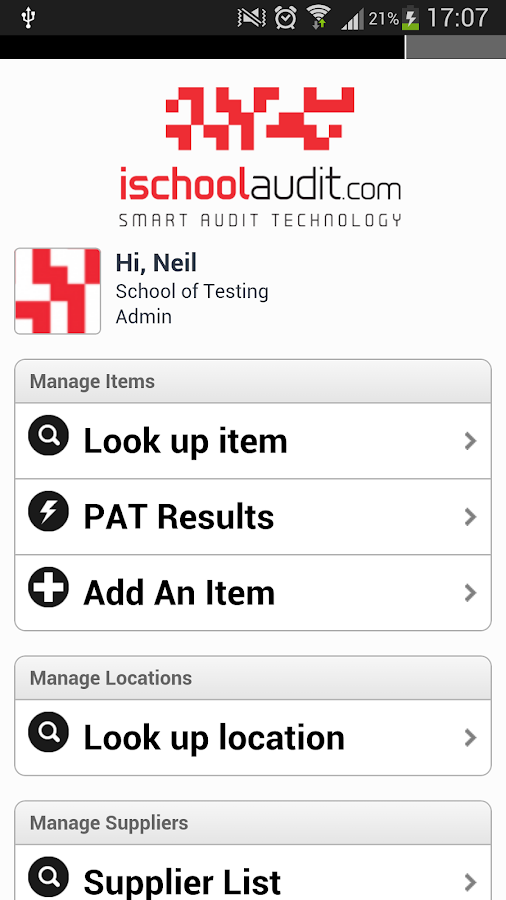 iSchoolAudit- screenshot