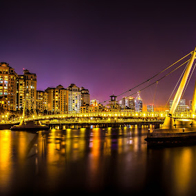 Lights Will Guide You Home by Dhum Liriah - City,  Street & Park  Night ( lights, night photography, bridge, nightscape, city )