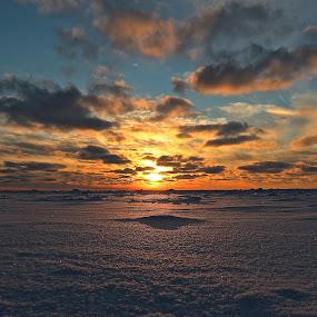 a WInter's sunset by Jeremy Church - Landscapes Sunsets & Sunrises ( lake michigan, winter, sunset, ice, snow )