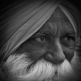 Sikh Man by VAM Photography - People Musicians & Entertainers ( sikh, b&w, beard, portrait, man,  )