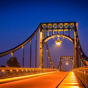 Wilhelm Bruecke by Anita  Christine - Buildings & Architecture Bridges & Suspended Structures ( whv, 2014, northsea, night, germany, bridge, cityscape, landscape, wilhelmshaven,  )