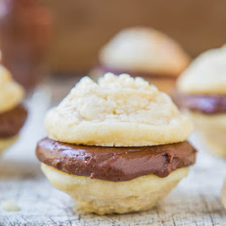 Vanilla Melting Moments Sandwich Cookies with Nutella-Cream Cheese Filling.