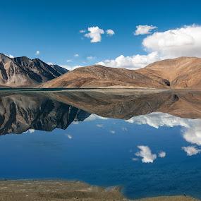 The Enchanted Mirror by Anna Tatti - Landscapes Waterscapes ( india ladakh pangong tso lake  himalaya,  )